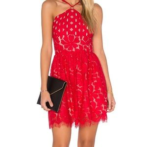 Cassia Circle Red Lace Stylestalker Dress